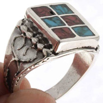 Inlaid Turquoise Navajo Mens Ring 25517