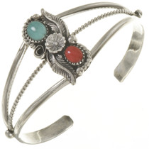Ladies Turquoise Coral Cuff 23296
