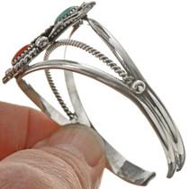 Turquoise Coral Navajo Bracelet 23296