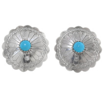 Turquoise Silver Navajo Post Earrings 20743