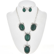 Navajo Malachite Silver Y Necklace Set 29170