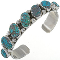 Bisbee Turquoise Silver Cuff Bracelet 28421