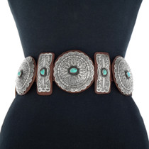 Turquoise Hammered Silver Concho Belt 20165