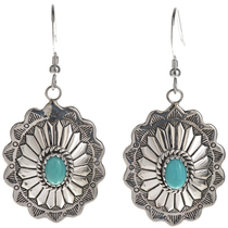Turquoise Silver Concho Earrings 28934