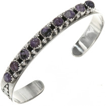 Ladies Navajo Charoite Silver Row Cuff 29227