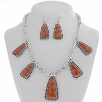 Apple Coral Silver Necklace Set 27768