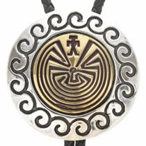 Gold Man In The Maze Silver Bolo Tie 29574