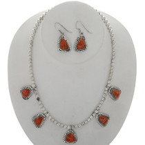 Apple Coral Silver Necklace Set 27732