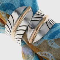 Gold Silver Feather Scarf Ring 23198