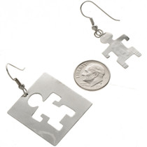 Navajo Tribal Man Silver Earrings 29378