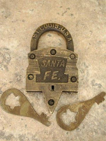Old Western KEEN KUTTER LOCK and KEYS, Movie Props 1