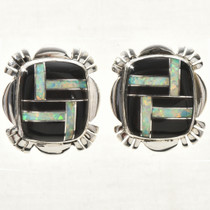 Black Jet Opal Silver Earrings 33063
