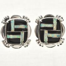 Black Jet Opal Silver Earrings 33063