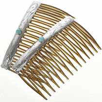 Turquoise Silver Navajo Hair Combs 26798