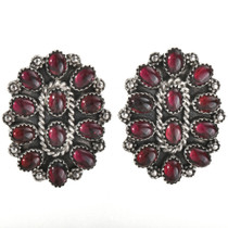 Garnet Cluster Silver Earrings 28847