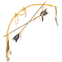 Native Beaded Buckskin Bow Arrow Display 29362