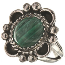 Navajo Malachite Silver Ladies Ring 28597