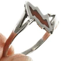 Inlaid Coral Navajo Ring 28820