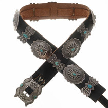 Turquoise Silver Old Pawn Concho Belt 24034