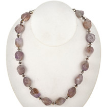 Native American Lilac Fluorite Silver Necklace 29456