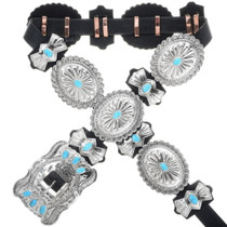 Turquoise Silver Concho Belt 24208