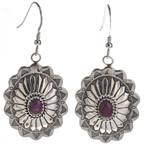 Ruby Silver Concho Earrings 28936