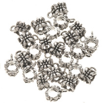 7mm by 7mm Pewter Bali Beads Bails 25 count 0074