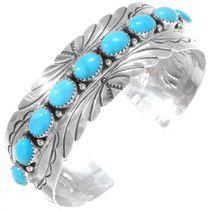 Turquoise Hammered Silver Cuff Bracelet 23389