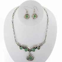 Navajo Turquoise Silver Necklace Set 27718