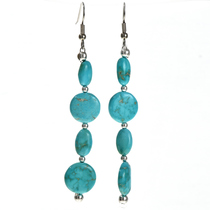 Turquoise Silver Bead Earrings 29238