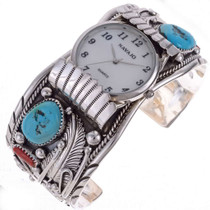 Mens Turquoise Watch Cuff Bracelet 24451