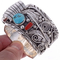 Turquoise Coral Sterling Watch 24451