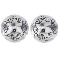 Native American Silver Concho Stud Earrings 20741