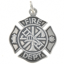 Sterling Silver Fire Department Charm 35424