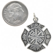 Sterling Silver Fire Department Charm Bracelet Charm Pendant Necklace