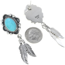 Silver Turquoise Feather Dangle Earrings 27282