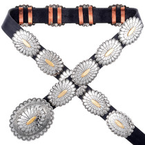 Silver and Gold Navajo Hammered Concho Belt 25271