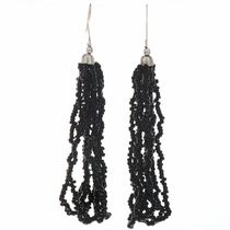 Black Seed Bead Tassel Earrings 12459