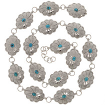 Turquoise Silver Link Concho Belt 15236