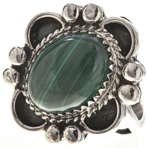 Malachite Silver Ladies Ring 28684