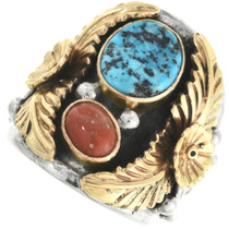 Gold Silver Turquoise Coral Mens Ring 29467
