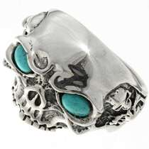 Silver Skull Turquoise Eyes Ring 26741