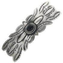 Black Onyx Silver Hair Barrette 29356