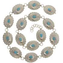 Native American Turquoise Link Concho Belt 15237