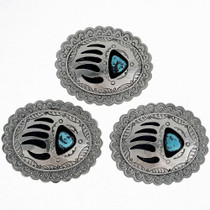Silver Turquoise Navajo Belt Buckle 23846