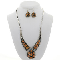 Navajo Coral Silver Necklace Set 27756