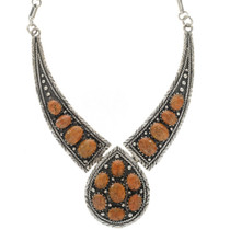 Coral Cluster Silver Necklace 27756