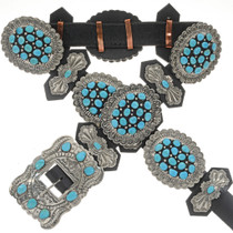 Turquoise Cluster Silver Concho Belt 21154