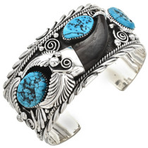 Navajo Turquoise Bear Claw Bracelet 24967