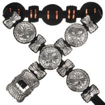 Native American Silver Concho Belt 14907